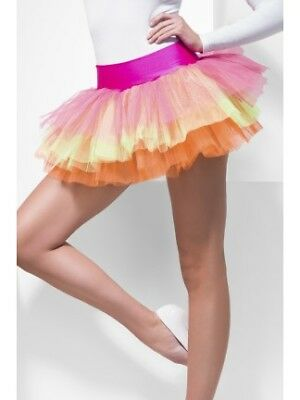 80s Neon Multi Tutu Underskirt Ladies Layered Fancy Dress Accessory
