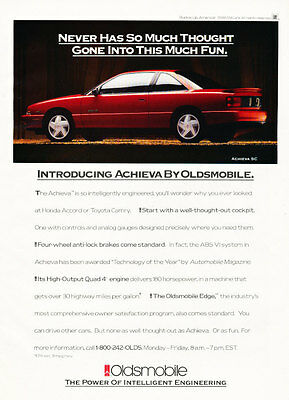 1992 Oldsmobile Achieva - Vintage Advertisement Car Print Ad J393