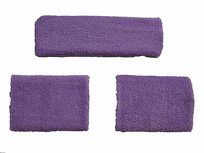 Purple Set Headband 2 Wrist Sweatbands Sports Wristbands Gym Sport Running Uk