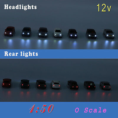 4PCS 1:50  O Scale Model Lighted Cars With 12V LEDs Lights for Building Layout
