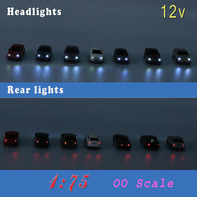 12PCS 1:75  OO Scale Model Lighted Cars With 12V LEDs Lights for Building Layout
