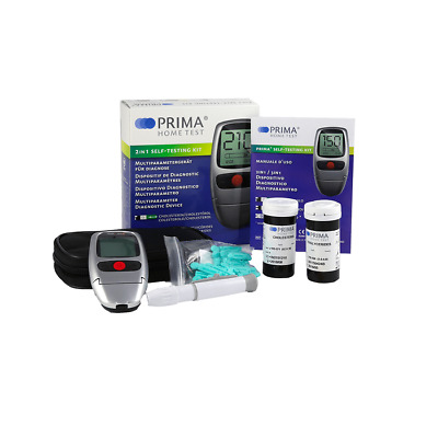 Cholesterol + Triglycerides Meter Home Monitor Kit with Testing Strips - Prima