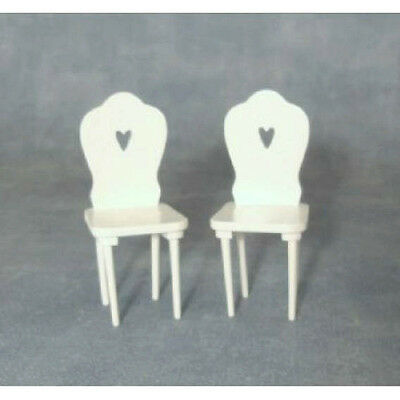 Dolls House Set of Two White Chairs with heart shape on the back  in 12th scale