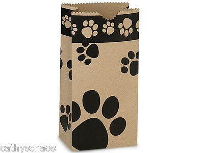 250 Paw Print Kraft Paper Party Favor Cats Dogs Paws Lunch Gift Bags Sacks 4 lb