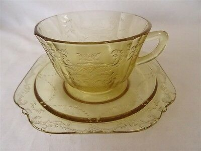 Federal Glass Depression Madrid Amber Cup & Saucer