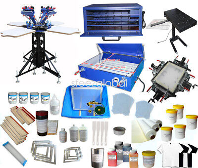 4 Color Full Set Silk Screen Printing Kit Press Printer & Flash Dryer Supplies
