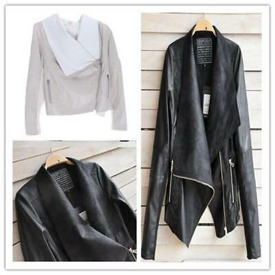 Women Vintage Biker Motorcycle PU Soft Leather Slim Zipper Coat Jacket Outwear Z