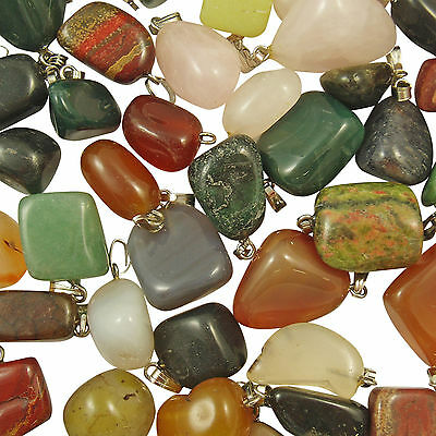 Wholesale 50 x MIXED Gemstone Crystal NUGGET Charm Pendants