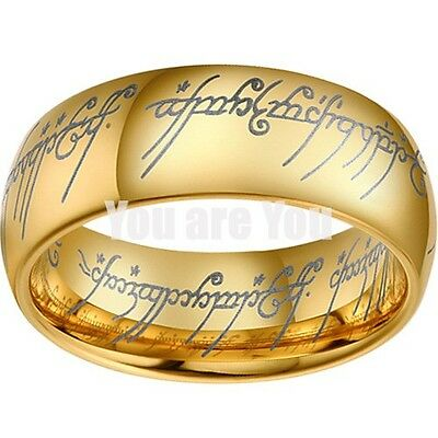 18K Gold Lord Of Ring Elvish Mens Womens Bridal Tungsten Wedding Band SIZE 10