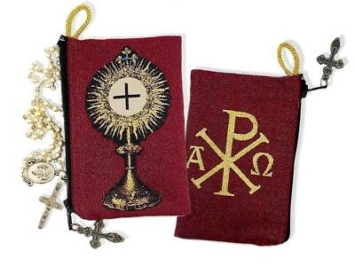 Blessed Sacrament Monstrance Symbol of Christ Tapestry Cloth Rosary Pouch Case