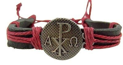 """Chi Rho Cross Medal 8"""" Adjustable Leather Bracelet His or Her Christian Jewelry"""