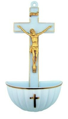 """Catholic Gift 5"""" Moulded White Gold Accent INRI Crucifix Hanging Holy Water Font"""