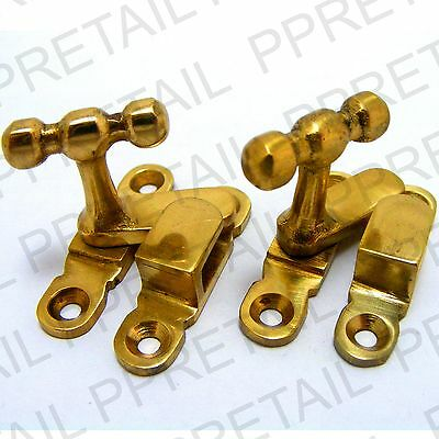 2x SOLID BRASS SHOWCASE CABINET FASTENER CATCH Thumbturn Display Lock Latch NEW