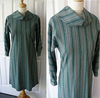 Vintage 60s 70s Roll Neck 10 12 Long Sleeve Autumn Goodwood Green Striped Kitty