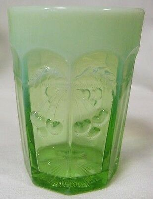 Green Opalescent Glass Cherry & Cable Pattern Tumbler