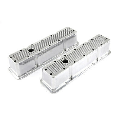 Chevy SBC 350 Polished Ribbed Aluminum Valve Covers - Tall w/Hole