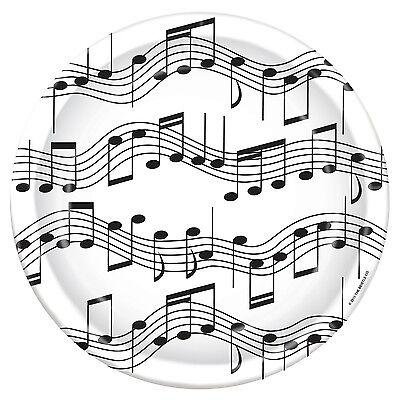 """8 ct MUSICAL NOTES Music Piano Recital Dance  9"""" Paper Plates Birthday Party Tab"""