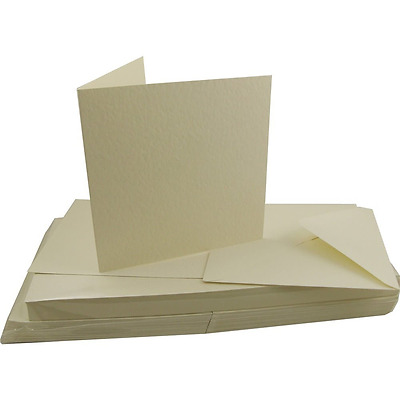 "50 6 x 6"" SQUARE IVORY HAMMERED TEXTURED BLANK CARDS 300gsm & ENVELOPES W102"