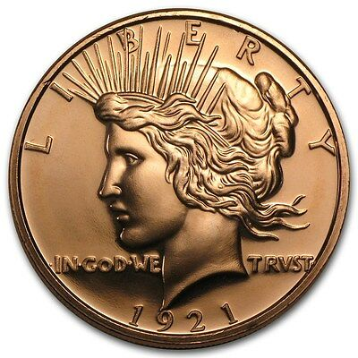 1 oz 999 Kupfer Kupfermedaille Copper Peace Dollar Liberty Lady 1921 Top Zustand