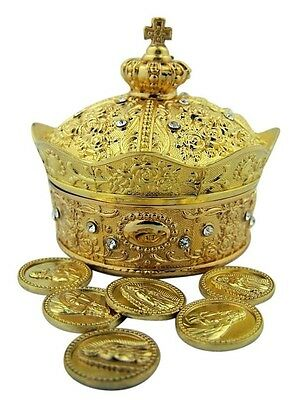 Gold Plated Metal Crown with Cross Rosary Jewelry Keepsake Box with Arras Tokens
