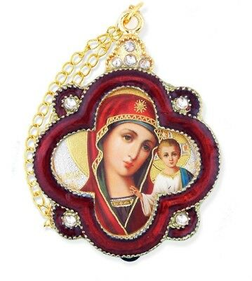 Madonna and Child Virgin Of Kazan Icon Pendant With Chain For Hanging Gift NEW