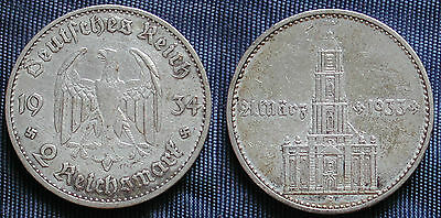 Moneta Coin Germania Germany Third Reich 2 Mark 1934.a Argento Silber Silver