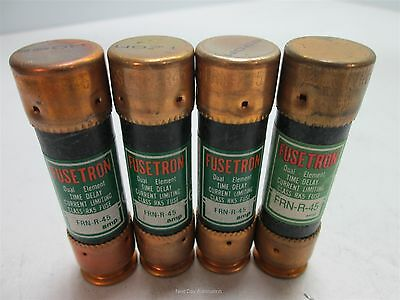 Lot of 4 Bussmann Fusetron FRN-R-45 Dual-Element Time-Delay Fuse, 45 Amps 250VAC