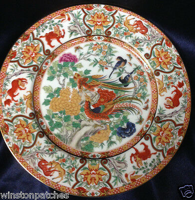 "Saji Saj9 10 5/8"" Dinner Plate Multi-Color Birds Animals Rust & Tan Border"