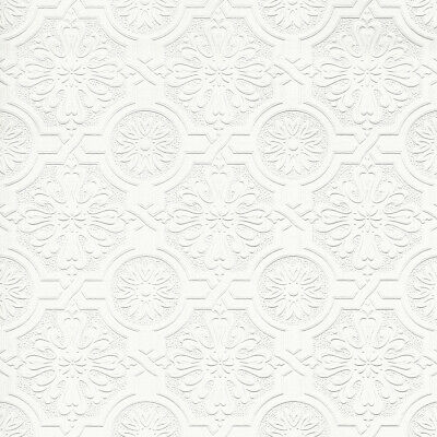 Victorian Tin Ceiling Textured Paintable Wallpaper 148-32817