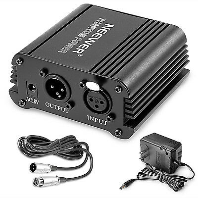 Neewer 1-Channel 48V Phantom Power Supply w/ Adapter f any Condenser Mic(8 feet)
