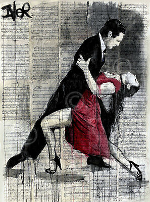 DANCE ART PRINT Midnight Tango by Loui Jover Couple Romance Dancing Poster 34x26