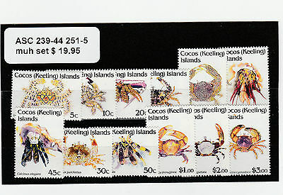 Cocos Keeling Islands, ASC 239-44 251-5 Mint Never Hinged Set Crabs