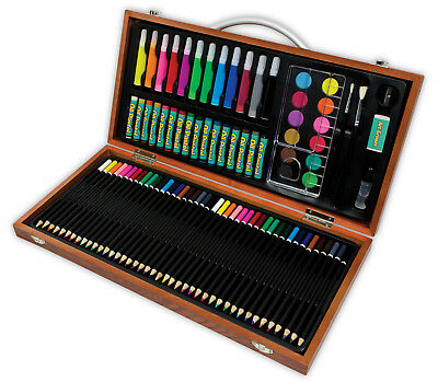 Childrens Art Adventure Gift Set 89 Piece Wooden Box Pencil Paint Pastel Avs541