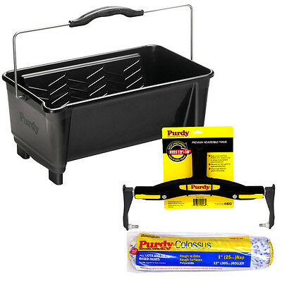"""Purdy Dual Roll Off Paint Bucket 19L Adjustable Roller Frame 12"""" Colossus Sleeve"""