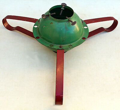 Vintage Metal Mod Red & Green Christmas Tree Stand Holder Round Ball Base