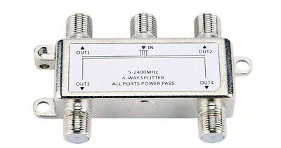 4-Way RF Coax Antenna CATV Splitter + 4 In 1 Out RF Coax Cable TV Combiner