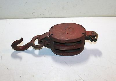 Antique 5-Pb Wooden Block Pulley - Double Metal Sheave