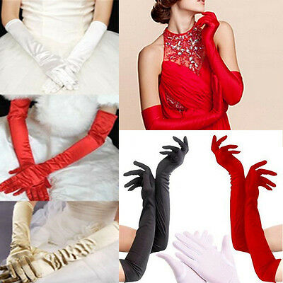 Sexy Satin Long Gloves Opera Wedding Bridal Evening Party Prom Costume Gloves