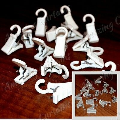 15 x Plastic Curtain Clips White & Transparent Living Room Home Decor