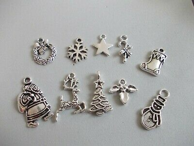 50 or 40 or 20 Mixed pack Christmas Tibetan Silver Charms,Xmas,Jewellery making
