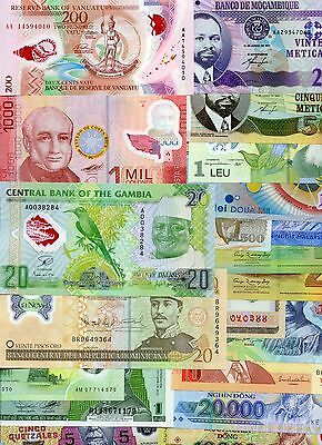 QUALITY collection with 20 different POLYMER uncirculated REAL banknotes lot