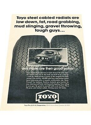 1976 Toyo Tires with Datsun 510 1970  Vintage Advertisement Car Print Ad J409