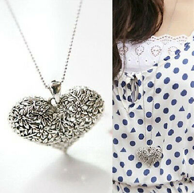 Women New Carved Heart Flower Long Chain Silver Tone Pendant Necklace Gift 1X CH