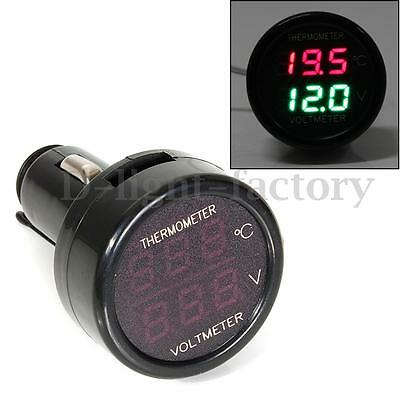 2 In 1 Auto Car Dual Display LED Digital Thermometer Voltmeter Cigar Lighter