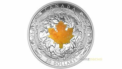 20 $ Dollar Majestic Maple Leaf Kanada Drusy Stone Quarz 2015 PP 1 oz Silber