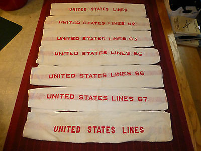 SS UNITED STATES LINES Red Print Stripe Swimming Pool (7) Towel Collection 1962+