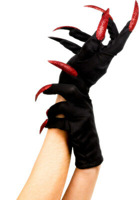 Ladies Black Gloves With Red Nails Halloween Fancy Dress Accessory