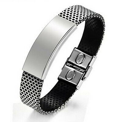 Vintage Silver Stainless Steel Black Leather Cuff Bangle Mens Wristband Bracelet