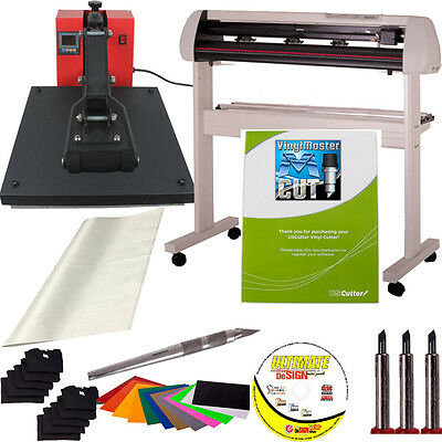 "25"" USCutter SC Vinyl Cutter + 15x15 Heat Press + Tools/Supplies - Sign Shop Kit"