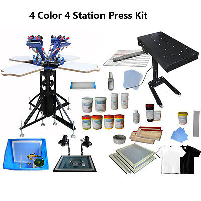 4 Color Screen Printing Kit Adjustable Press & Flash Dryer/ Consumable 4 Pallets